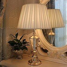 YFF@ILU Hochwertige Crystal Tischleuchten Nachttischlampe Schlafzimmer westlichen Stil einfach dekorative Beleuchtung design Wohnzimmer Modernes Haus Stoff, Druckschalter