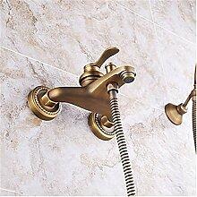 YFF@ILU Home deco Accessoires Badezimmer Wand Vintage Brass Badewanne Armatur mit Handbrause einstellen