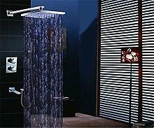 YFF@ILU Home deco Accessoires moderner Wand montiert LED/Thermostatische/Regendusche/Handdusche mit Messing Ventil zwei Griffen vier Bohrungen für Chrom enthalten