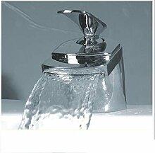 YFF@ILU Home deco Kupfer Chrom heißen und kalten Wasserfall Armatur Einhebel Waschtischmischer Einlochmontage