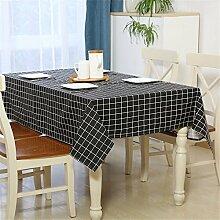 YFF@ILU Home deco Modernes, minimalistisches Baumwolle Leinen Küche runden/quadratischen Tabelle Fahne Abdeckungen Tischdecke Tischdecke, schwarz-130 * 180 cm