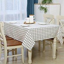 YFF@ILU Home deco Modernes, minimalistisches Baumwolle Leinen Küche runden/quadratischen Tabelle Fahne Abdeckungen Tischdecke Tischdecke, Weiß-120 * 160