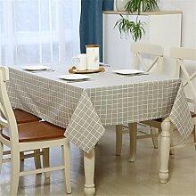 YFF@ILU Home deco Modernes, minimalistisches Baumwolle Leinen Küche runden/quadratischen Tabelle Fahne Abdeckungen Tischdecke Tischdecke, Grau-140 * 140 cm