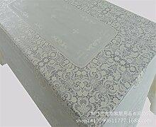 YFF@ILU Home deco Modernes, minimalistisches PVC-Kunststoff wasserdicht Küche runden/quadratischen Tabelle Fahne Abdeckungen Tischdecke Tischdecke 137 * 137 cm, B-Beige