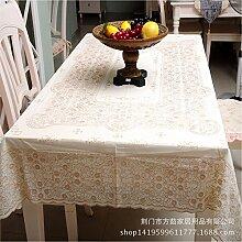 YFF@ILU Home deco Modernes, minimalistisches PVC-Kunststoff wasserdicht Küche runden/quadratischen Tabelle Fahne Abdeckungen Tischdecke Tischdecke 137 * 137 cm, B-Braun