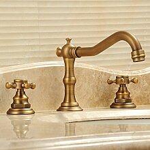 YFF@ILU Home deco Rereo drei Loch Armatur Armaturen Waschbecken Waschbecken Wasserhahn retro Armaturen aus Messing