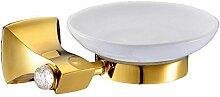 YFF@ILU Kupfer und Gold mit Diamanten runde Sanitärraum-accessoires Seife Regal Seifenschale