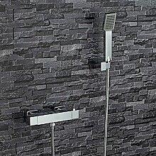 YFF@ILU Moderne Badewanne und Dusche Thermostatische verbreitete withBrass Ventil zwei Griffen zwei Bohrungen forChrome, Badewanne Armatur
