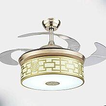 YFF@ILU modernen minimalistischen Led stealth Fan leuchtet, Haushalt Ventilator Kronleuchter, Wohnzimmer Schlafzimmer Esszimmer Deckenventilator Licht, E