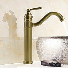 YFF@ILU Vintage Küche Messing, Warm und Kalt Rotary Waschtisch Armatur Waschbecken mit Wasser Einlasshahn