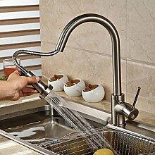 YFF@ILU Ziehen Sie Spray Nickel gebürstet Kitchen Sink Faucet Einloch Mischbatterie Deck