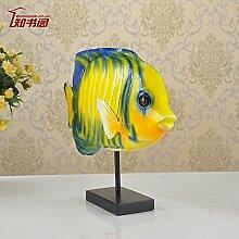 YFF Kreative Wohnzimmer TV-schrank Ornamente moderne, minimalistische Einhaltung der Harz Handwerk Ornamente, Gelb, Big fish