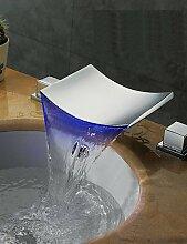 YFF@ Zeitgenössisch / Art déco/Retro / Modern 3-Loch-Armatur LED / Wasserfall / Breite spary with Keramisches Ventil Zwei Griffe Drei Löcher