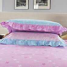 YFFS 2 Stück Baumwolle Twill Semi - Active Druck Bett Bettwäsche Kissen Baumwolle Lace Kissenbezug,A