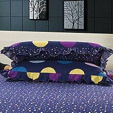 YFFS 2 Stück Baumwolle Twill Semi - Active Druck Bett Bettwäsche Kissen Baumwolle Lace Kissenbezug,C