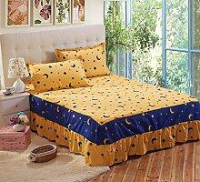 YFFS Aloe Baumwolle Anti-Rutsch Mode Bett Rock Einzelbett Abdeckung Bett Bettwäsche,A-120*200CM