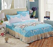 YFFS Aloe Baumwolle Anti-Rutsch Mode Bett Rock Einzelbett Abdeckung Bett Bettwäsche,N-150*200CM
