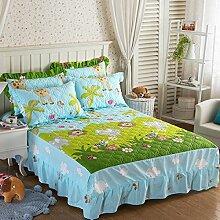 YFFS Baumwoll-Dicker Baumwoll-Einteiler-Rock Einzelbett-Bett-Abdeckungs-Bett-Abdeckungs-Bett-Abdeckungen,G-150*200CM