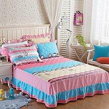 YFFS Baumwoll-Dicker Baumwoll-Einteiler-Rock Einzelbett-Bett-Abdeckungs-Bett-Abdeckungs-Bett-Abdeckungen,E-150*200CM