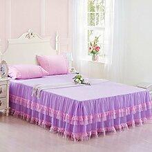 YFFS Baumwoll-Spitze-Bett-Rock Einzelnes Bettdecke-Abdeckungs-Bett-Abdeckungs-Bettwäsche,4-150*200cm