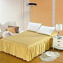 YFFS Bettwäsche Dicker Baumwolle Pure Baumwolle Bettwäsche Tagesdecke Einzelbett Baumwolle Bett Bett Rock,B-180*200cm+45cm