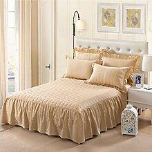 YFFS Einzelne Stück Pure Farbe Baumwolle Bett Rock Baumwolle Pure Baumwolle Bettdecke Bett Bettwäsche,D-180*200CM