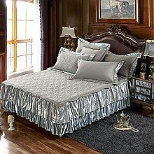 YFFS Europäisches Bett Rock Gesteppte Bett Unternehmen Abnehmbarer Doppelzweck-Typ,F-200*220+48cm(高度)单床裙