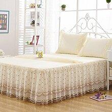 YFFS Koreanische Version Der Spitze Prinzessin Bett Rock Einzelbett Bettdecke Tagesdecke Rock,Yellow-180*200cm