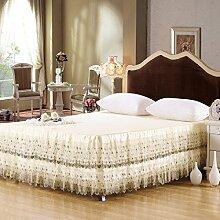 YFFS Lace Bestickte Baumwoll-Bettdecke Baumwoll-Bett-Sets Aus Stilvollem Bett Röcke,150*200cm