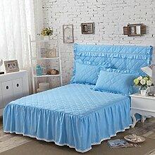 YFFS Pure Cotton Cotton Matratze Rock Einzelstück Aus Baumwolle Dick Bett Bettwäsche Staub Bett Abdeckung Schutzhülle,F-180*200cm+45cm