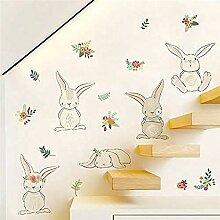 YFKSLAY Aufkleber mit Glaswand von Kaninchen und