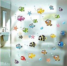 YFKSLAY Bad Aufkleber Fisch und Schaum Duschwand