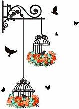 YFKSLAY Wandaufkleber Aufkleber mit Vogelkäfigen