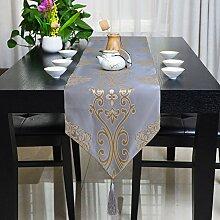 YFQH - Chinese-Style Tischläufer Gold Rattan Blume Brocade Jacquard Tischläufer, eine Blaue Blume, Läufer 2 m