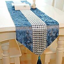 YFQH - Eindicken acht Breasted chinesischen Gold Velvet Tischläufer, blau, 33 x 200 cm