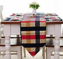 YFQH-European Classic Cotton Plaid, rechteckigen Tisch Runner Tabelle Flag Flag Home Näh