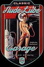 YFULL Blechschild Pinup/Pin Up Nude Lube Garage