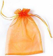 YFZYT Organza Taschen Net Garn Schmuckbeutel mit Vielfältig Farben ideal für Geschenk Hochzeit Süßigkeiten Säckchen Geeignet für Männer und Frauen, 100 Stück, 9 X 12 CM, Orange