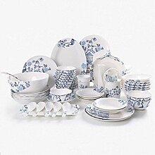 YGFS Bone China Geschirr Set chinesische blau und