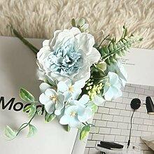 YGMX 3 PC-Blau Künstliche Blumen Gefälschte