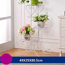 YGR huaji huapen Eisen-Blumen-Racks Boden Blumentöpfe europäischen Stil Indoor-und Outdoor-Wohnzimmer Balkon mehrere Ebenen Blumen Regal Dekoration (Farbe : E)
