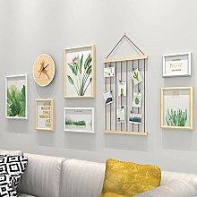 YHEGV Bilderrahmen-Wand-Set mit Wanduhr - 6