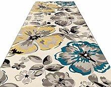 YHEGV Blumenmuster Flur Läufer Teppich mit
