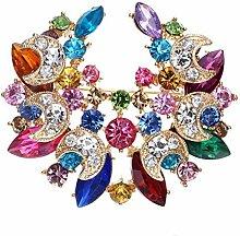 YHEGV Brosche Multicolor Strass Blume bunten
