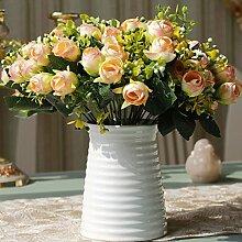 YHJ Fake Blumen Home Zubehör Wohnzimmer Dekoration Simulation Blumen-Sets von falschen Blumen Juanhua dekorative Blumen Dekoration Rose keramischen Gesamt-Blumen-Arrangement ( Farbe : C )