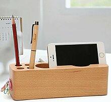 YHJ Stifthalter Massivholz Stifthalter Kreative Mode Schreibwaren Multifunktions Holz Bürobedarf