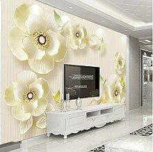 Yhzer 3D Relief Schmuck Blumen Tapete Für
