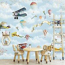 Yhzer Cartoon-Stil Heißluftballon Kinder Tapete