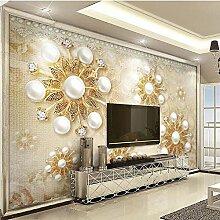 Yhzer Fototapete Luxus Goldene Perle Spitze 3D