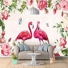 Yhzer Nordic Retro Rose Flamingo Fototapete Für